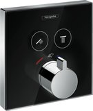 Hansgrohe ShowerTablet ShowerSelect glass thermostat, flush-mounted, 2 consumers...