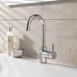 HSK Single lever basin mixer without waste, round, high, chrome 1100102