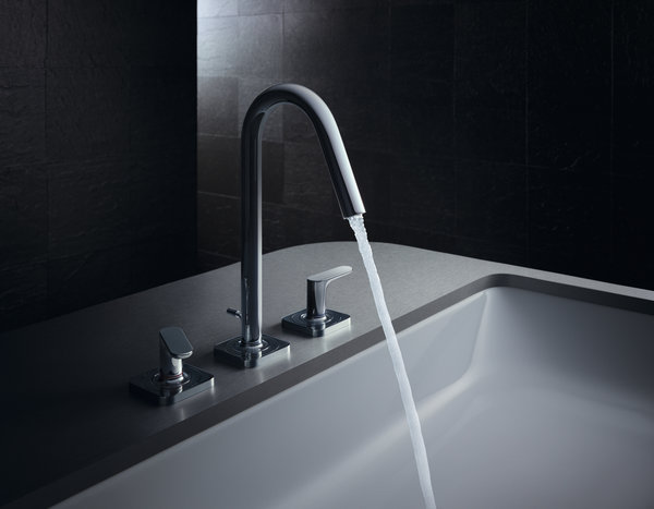 Hansgrohe AXOR Citterio M 3-hole basin mixer 160 with lever handles, rosettes and pop-up waste