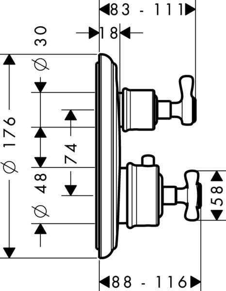 Hansgrohe Axor Montreux thermostat flush-mounted with shut-off valve or changeover valve