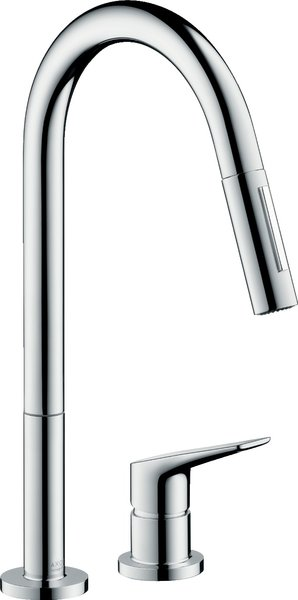 Hansgrohe Axor Citterio M DN 15 2-hole single-lever kitchen mixer 220 with pull-out spray