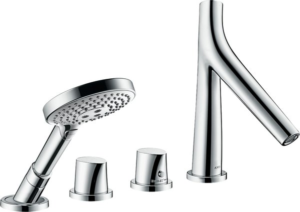 Hansgrohe AXOR Starck Organic 4-hole tile rim fitting with thermostat, 2 consumers