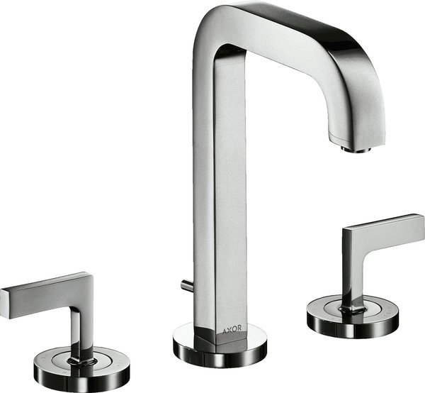 Hansgrohe AXOR Citterio 3-hole basin mixer 170, pop-up waste, spout 140mm, lever handles, rosettes