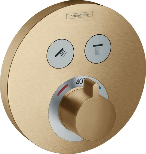 Hand-sized ShowerTablet ShowerSelect S thermostat, flush-mounted, 2 consumers, chrome