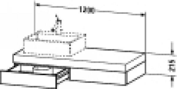 duravit fogo konsole 8524 1200mm mit ausschnitt links. Black Bedroom Furniture Sets. Home Design Ideas
