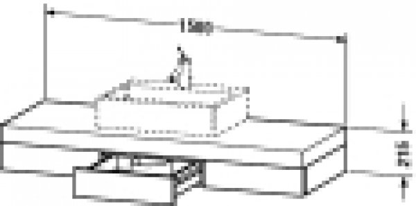 Duravit Fogo Konsole 8527, 1500mm mit Ausschnitt mittig, Farbe (Front/Korpus): Macassar Echtholzfurnier