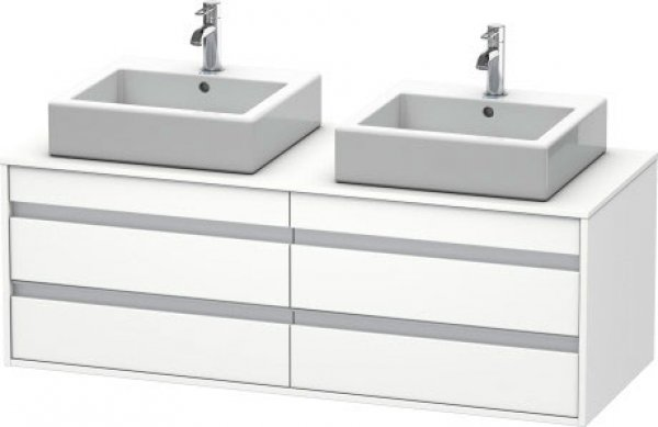 Duravit Ketho vanity unit wall hung 6657, 4 drawers, 1400mm, for 2 top basins, both sides