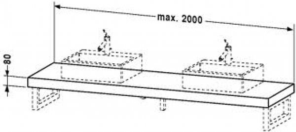 duravit fogo konsole variabel 079c 1400mm mit zwei. Black Bedroom Furniture Sets. Home Design Ideas