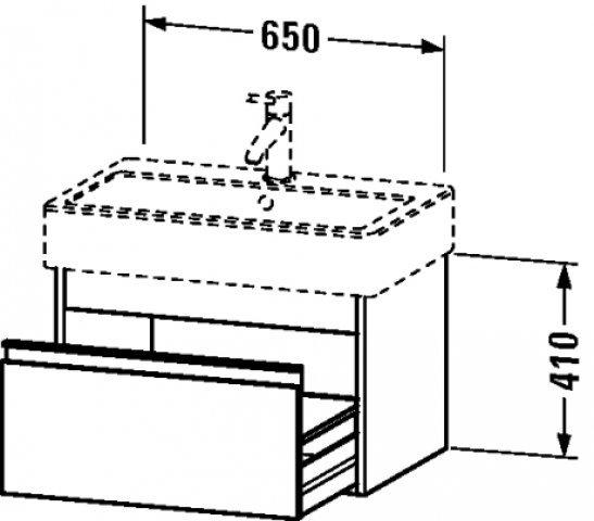 Duravit Ketho Waschtischunterschrank wandhängend 6684, 1 Auszug, 650mm, für Vero, Farbe (Front/Korpus): Terra Matt