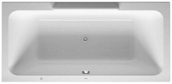 Duravit whirlpool bath DuraStyle 1900x900mm, built-in version or for bath panelling, 2 back inclines, frame, drain and overflow set, air system