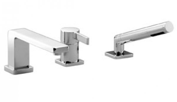 Dornbracht LULU bathtub three-hole single-lever mixer for bathtub edge or tile edge installation, projection 215 mm, 27312710