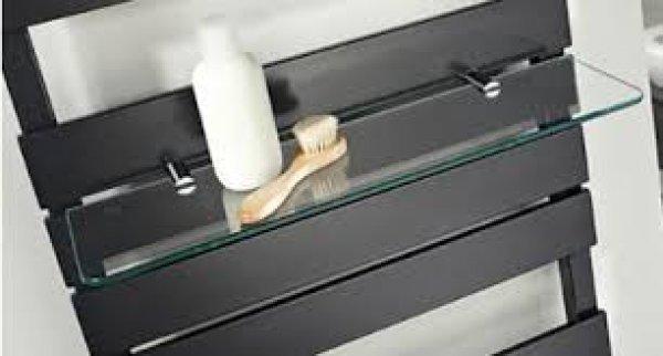 HSK Glasablage einzeln, 510x510 mm, passend zu Lavida Designheizkörper, klar hell, Farbe: Anthrazit