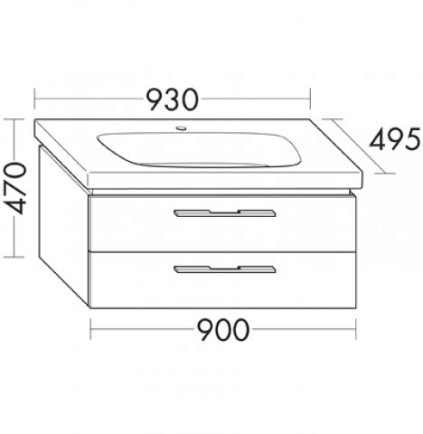 burgbad oteo keramik waschtisch inklusive waschtischunterschrank 930mm. Black Bedroom Furniture Sets. Home Design Ideas