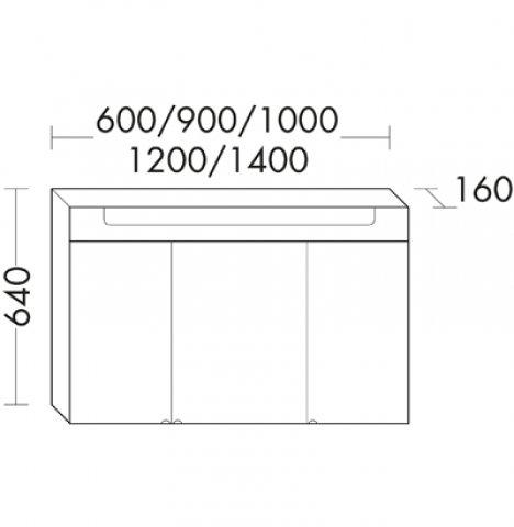 burgbad chiaro spiegelschrank breite 1000 mm mit 3 t ren. Black Bedroom Furniture Sets. Home Design Ideas