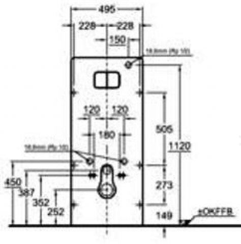 keramag universal sanit rmodul vorwandelement f r wand wc 495x1170x110. Black Bedroom Furniture Sets. Home Design Ideas