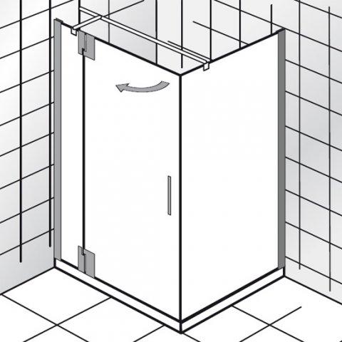 """HSK K2P Drehtür an Nebenteil für Seitenwand, 120 cm, Türanschlag rechts, 2170120, Duschkabinen: Chromoptik"""","""" ESG klar mit Edelglas"""