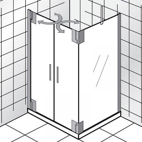"""HSK K2P Pendeltür 2-teilig für Seitenwand, 100 cm, 2177100, Duschkabinen: Chromoptik"""","""" ESG klar mit Edelglas"""