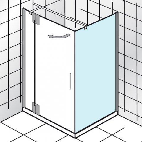 """HSK K2P Seitenwand, 140 cm, 2190140, Duschkabinen: Chromoptik"""","""" ESG klar"""