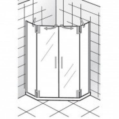 """HSK K2P Fünfeck 2 Drehtüren und 2 Seitenteile, 100x100 cm, 2162100, Duschkabinen: Chromoptik"""","""" ESG klar mit Edelglas"""