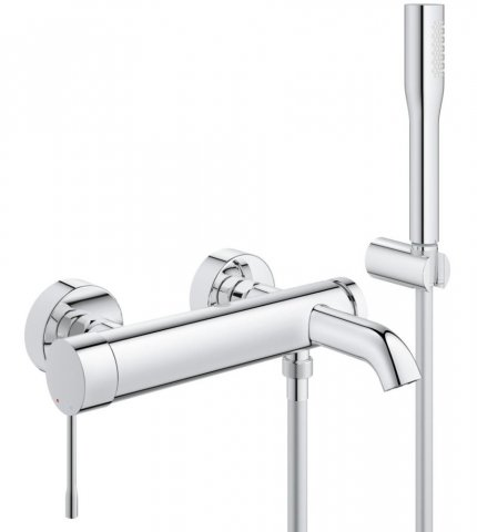 Grohe Essence one-hand bath mixer DN 15, wall mounting, automatic bath/shower changeover, with shower set