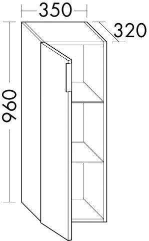 burgbad eqio halbhoher schrank mit 1 t r t ranschlag rechts 350mm. Black Bedroom Furniture Sets. Home Design Ideas