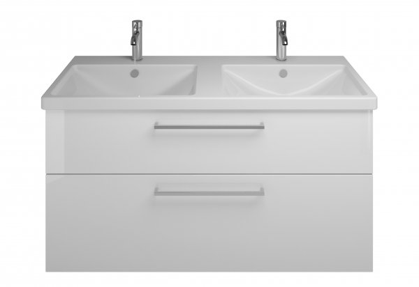 Burgbad Eqio ceramic double wash basin including vanity unit SEYS123, width 1230...