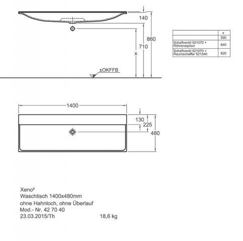 keramag xeno 2 waschtisch ohne hahnloch ohne berlauf 140x48cm weiss. Black Bedroom Furniture Sets. Home Design Ideas