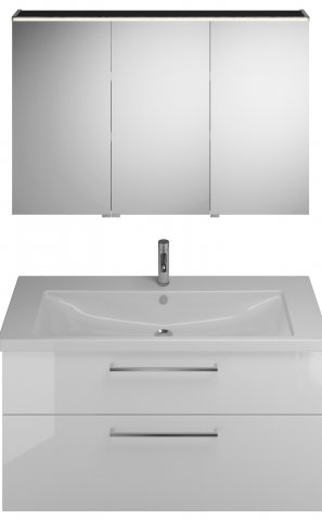 Burgbad Eqio Set, SFAN123R, consisting of mirror cabinet version right, ceramic washbasin and vanity unit, width: 1230 mm