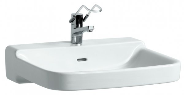 Running Wash basin barrier-free Running PRO 1 tap hole centric with overflow 650x550 white
