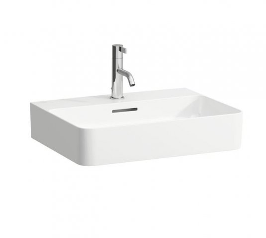 Laufen VAL Countertop wash basin, 1 tap hole, with overflow, US closed 550x420, white