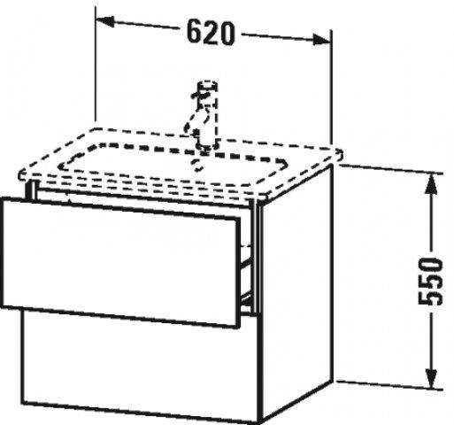 Duravit L-Cube Waschtischunterbau wandhängend, 2 Schubkästen, Breite: 620mm, für Me by Starck 233663, Farbe: Amerikanischer Kirschbaum Echtholzfurnier