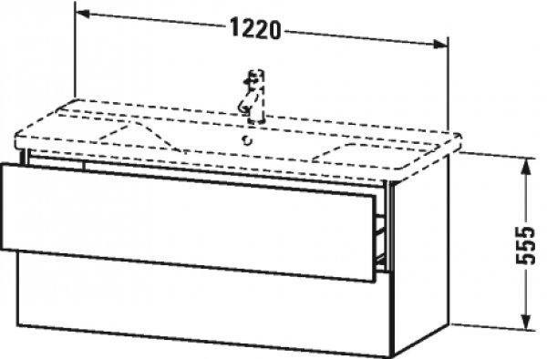 Duravit L-Cube Waschtischunterbau wandhängend, 2 Schubkästen, Breite: 1220mm, für P3 Comforts 233212, Farbe: Eiche Dunkel gebürstet Echtholzfurnier