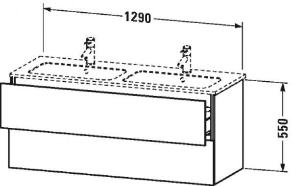 Duravit L-Cube Waschtischunterbau wandhängend, 2 Schubkästen, Breite: 1290mm, für Me by Starck 233613, Farbe: Graphit Matt Dekor