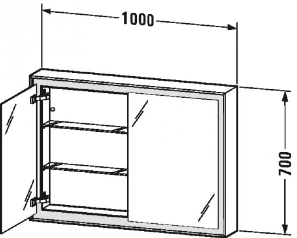 duravit l cube spiegelschrank mit led beleuchtung rechts 100cm. Black Bedroom Furniture Sets. Home Design Ideas