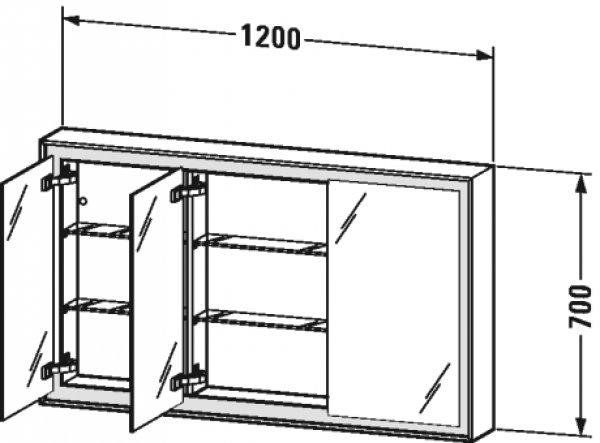 duravit l cube spiegelschrank mit led beleuchtung rechts 120cm. Black Bedroom Furniture Sets. Home Design Ideas