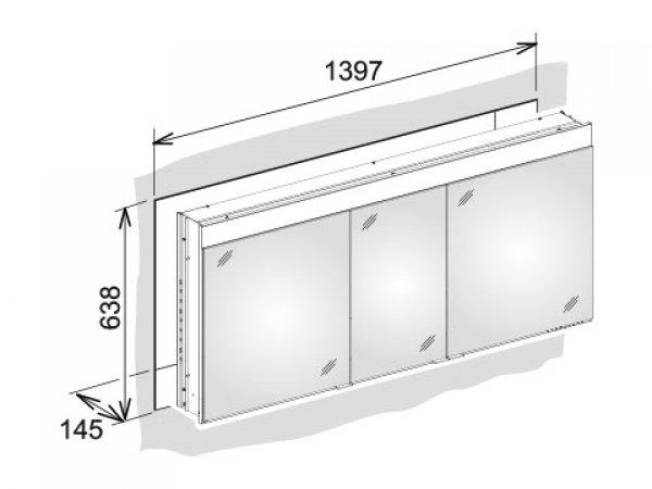 keuco edition 400 spiegelschrank 21543 wandeinbau 1 lichtfarbe. Black Bedroom Furniture Sets. Home Design Ideas