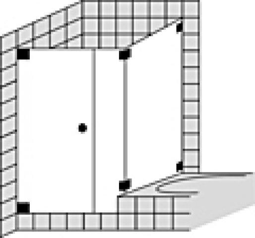Sprinz Omega Maßanfertigung Eckdusche mit Pendeltür o. Tür mit Seitenteil inkl. verkürzter Seitenwand O18.9, Maße bis: 900x900x2000mm, Duschkabinen: Beschlagteile: Chrom, Glasart: Kristall hell mit SpriClean und SpriMedical