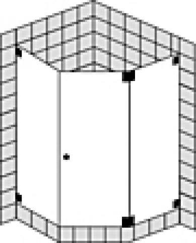 Sprinz Omega Maßanfertigung Fünfeckduschabtrennung mit Pendeltür oder Tür O51.9, Maße bis: 900x900x2000mm, Duschkabinen: Beschlagteile: Chrom, Glasart: Kristall hell mit SpriClean
