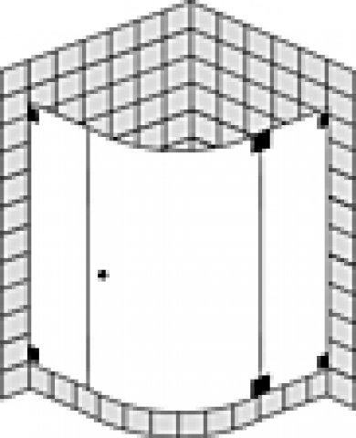Sprinz Omega Maßanfertigung Viertelkreisduschabtrennung mit Tür O15.4, Radius: 520-530mm, Maße bis: 1000x1000x2000mm, Duschkabinen: Beschlagteile: Sonderoberfläche, Glasart: Kristall hell mit SpriClean und SpriMedical