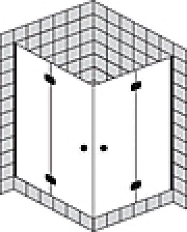Sprinz Fortuna teilgerahmte Eckdusche Türen mit Seitenteil, 900x900x2000mm, Duschkabinen: Beschlagteile: Chrom, Glasart: Kristall hell mit SpriClean