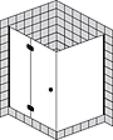 Sprinz Fortuna teilgerahmte Eckdusche Tür mit festem Seitenteil, Anschlag rechts, 900x900x2000mm, Duschkabinen: Beschlagteile: Chrom, Glasart: Kristall hell mit SpriClean