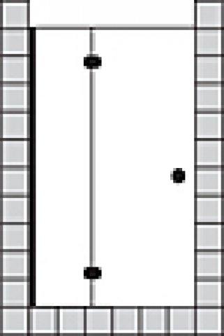 Sprinz Fortuna teilgerahmte Tür mit Seitenteil für Nische, Anschlag rechts, 900x2000mm, Duschkabinen: Beschlagteile: Chrom, Glasart: Kristall hell mit SpriClean