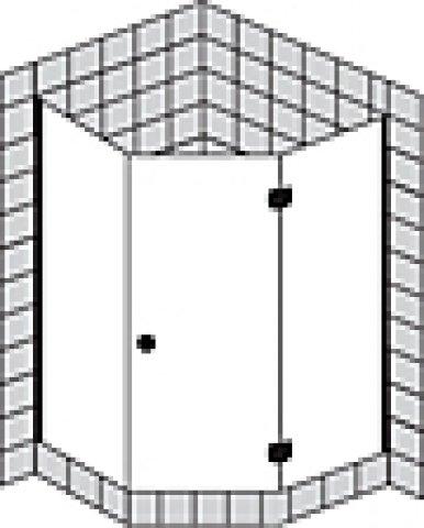 Sprinz Fortuna teilgerahmte Fünfeckduschkabine mit Tür FA43R, Anschlag rechts, 900x900x2000mm, Duschkabinen: Beschlagteile: Chrom, Glasart: Kristall hell mit SpriClean