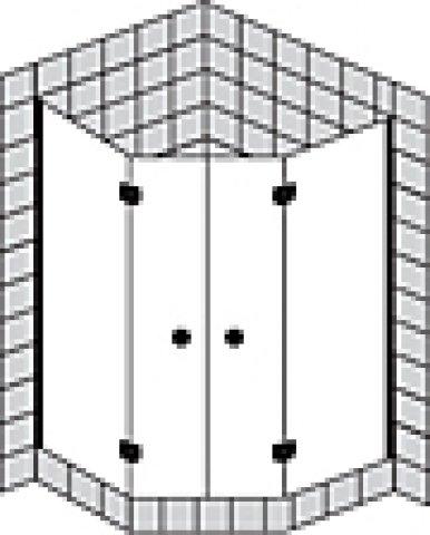 Sprinz Fortuna teilgerahmte Fünfeckduschkabine mit Türen FA56X, 1000x1000x2000mm, Duschkabinen: Beschlagteile: Chrom, Glasart: Kristall hell mit SpriClean