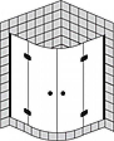 Sprinz Fortuna teilgerahmte Viertelkreisduschkabine mit Türen, Radius 500mm, 900x900x2000mm, Duschkabinen: Beschlagteile: Chrom, Glasart: Kristall hell mit SpriClean und SpriMedical