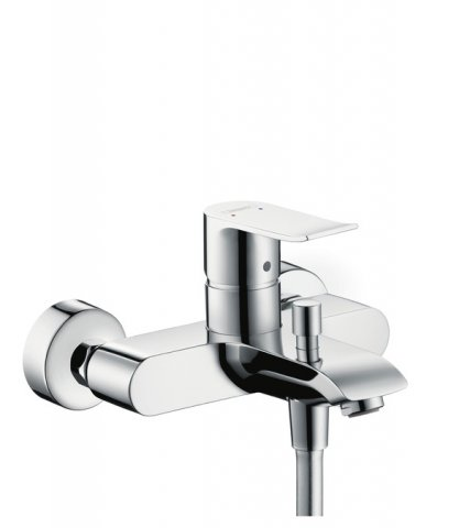 Hansgrohe Metris single-lever surface-mounted bath mixer, overhang 123-130.5mm
