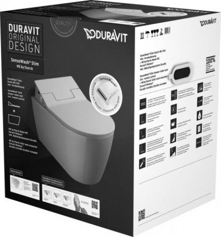 Duravit Set Me by Starck Rimless (spülrandlos) Wand-WC inkl. SensoWash Slim Dusch-WC-Sitz, weiß