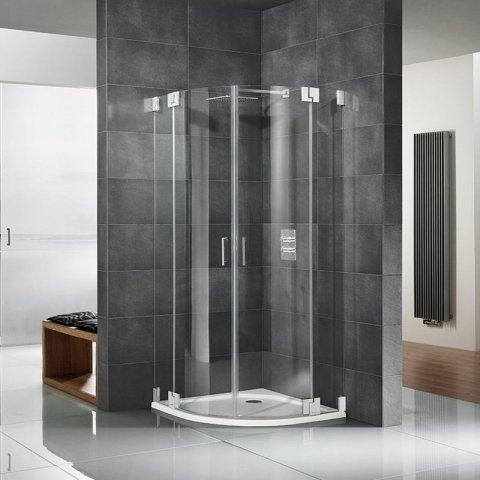 HSK K2 frameless quarter circle shower with swing doors and fixed panel K2.43, up to 1000x2000mm