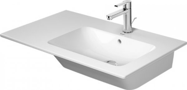 Duravit ME by Starck Furniture wash basin 83 cm, 1 tap hole, with overflow, with tap hole bench, asymmetrical, basin right