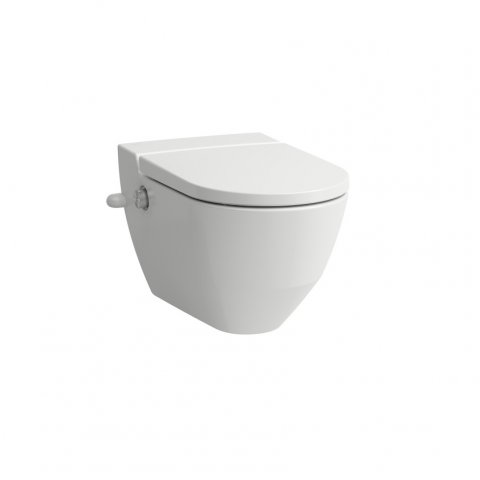 Running Navia Cleanet shower toilet, washdown 4.5/3 litre wall mounted, flushless, 37x58 cm, with side opening for external water connection 19.5 cm